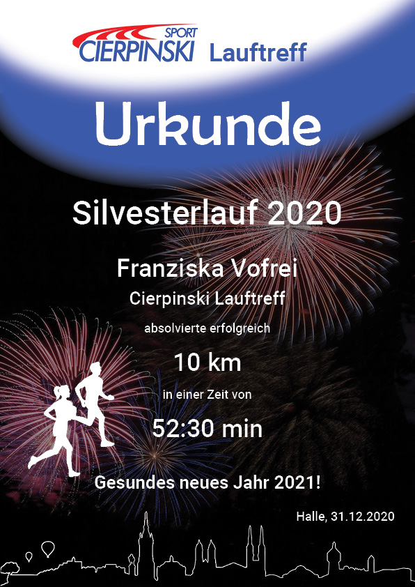 Urkunde virtueller Silvesterlauf 2020
