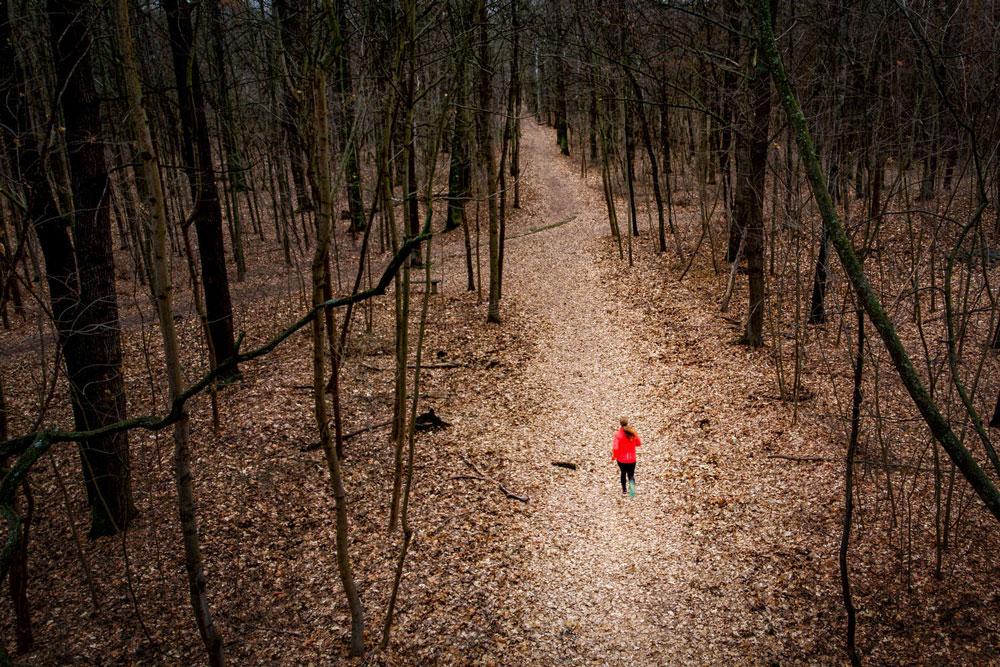 Laufen im Wald zur Motivation