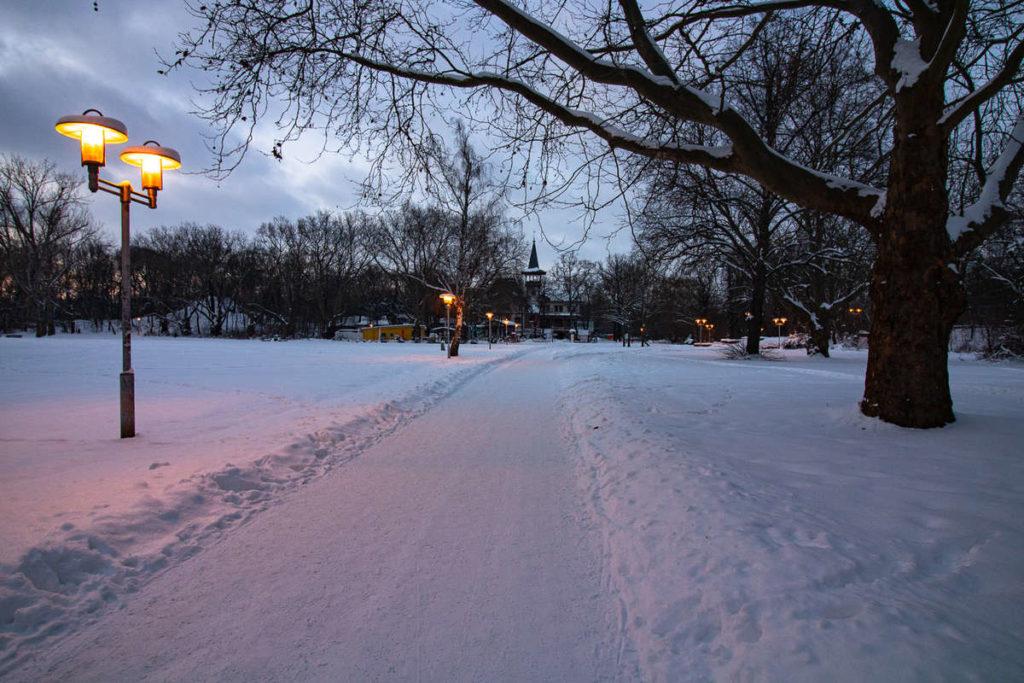 Laufweg im Winter in Halle (Saale)