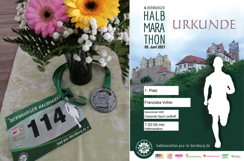 Urkunde und Medaille des 4. Bernburger Halbmarathon 2021